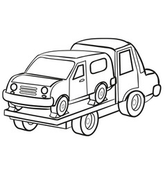 sketch tow truck carrying a confiscated or broken vector image