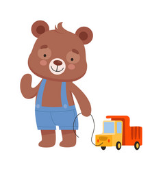Smiling bear character wearing playsuit pulling vector
