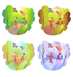 Sports activities in nature during all seasons vector