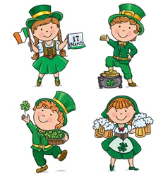 St Patricks Day cute kids vector image
