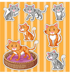 Sticker set with cute cats on yellow background vector