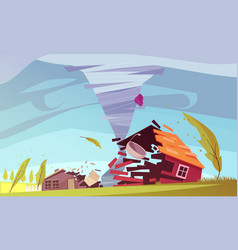 storm wind house composition vector image