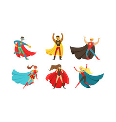 Superheroes characters in different poses vector