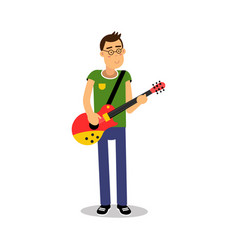 Teenage boy playing guitar during concert cartoon vector