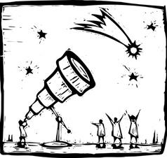 Telescope and Comet vector image