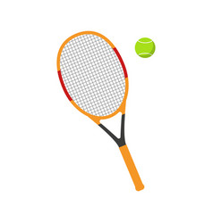 Tennis racket and ball flat vector