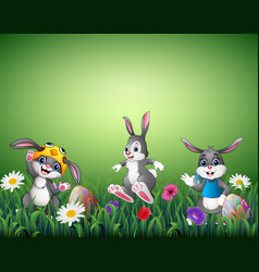 Three happy cartoons with decorated easter eggs in vector