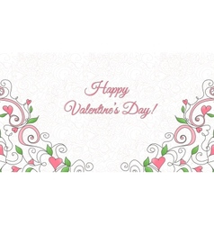 Valentines day card with hearts ornament vector