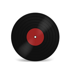 Vinyl lp record with red label black musical long vector
