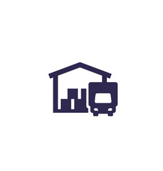 warehouse and truck icon vector image