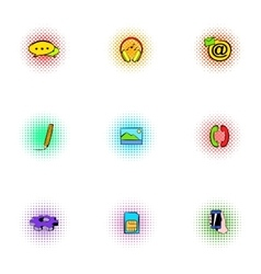 Web messages icons set pop-art style vector