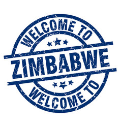 Welcome to zimbabwe blue stamp vector