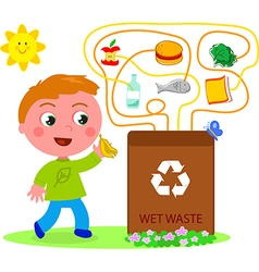 Wet waste recycling game vector image