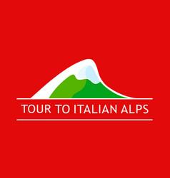 White logo italian alpine mountains isolated vector