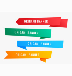 wide origami banners in ribbon style vector image