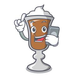 With phone irish coffee character cartoon vector