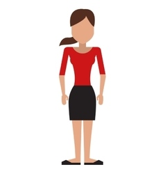 Woman with skitrt and top and pony tail vector