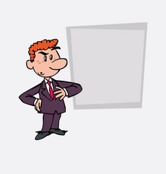 Worried red hair businessman is showing as in a vector