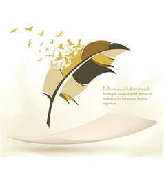 writing pen multicolored feather with flying birds vector image