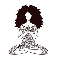 yoga girl african american woman doing vector image