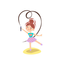 young ballerina in motion rhythmic gymnastics vector image