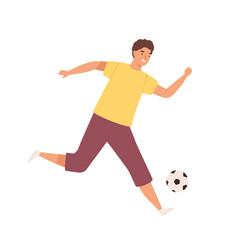 young happy man playing football male soccer vector image