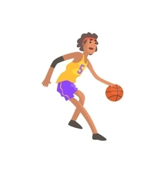 Basketball Player In Red Headband Action Sticker vector image