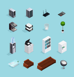 colored office supplies isometric icon set vector image