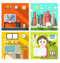 creative business backgrounds set with computers vector image
