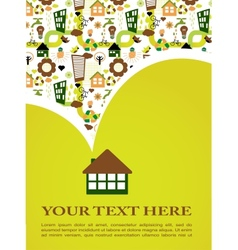 house with green eco pattern vector image vector image