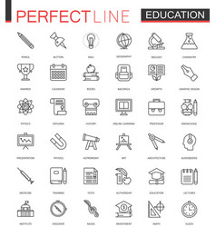 school university education thin line web icons vector image