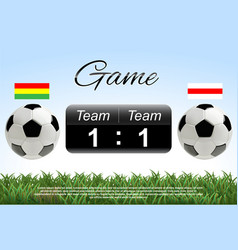 soccer or football ball with scoreboard and flags vector image vector image
