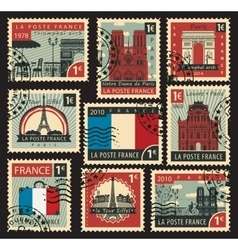 stamps on the theme of France vector image vector image