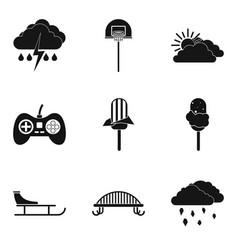 stay home icons set simple style vector image vector image
