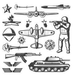 vintage military elements collection vector image vector image