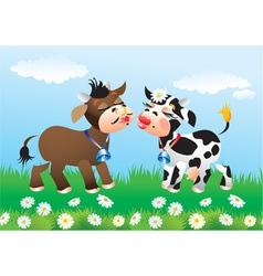 Cartoon kissing cows in love vector image