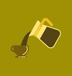 Flat icon on background cup coffee maker vector