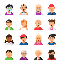 funny cartoon faces avatars in flat style vector image vector image