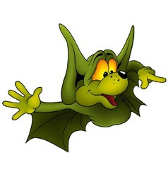 Green Smiling Bat vector image