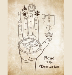 hand of the mysteries the alchemical symbol vector image