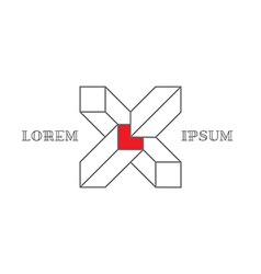 Isometric logo with letter X 3d Logotype with vector image vector image