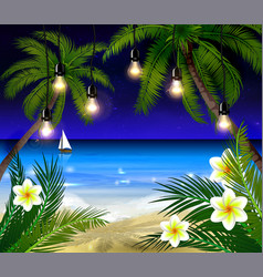 palm trees at night vector image vector image