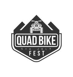 Quad bike festival label design black and white vector