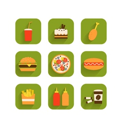 set of icons of fast food vector image