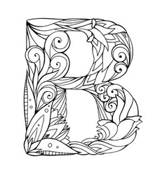 black and white freehand drawing capital letter b vector image