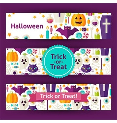 Halloween Trick or Treat Template Banners Set in vector image vector image