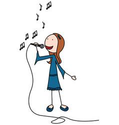 happy kid singing vector image