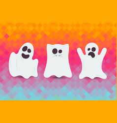 set of cute halloween ghost happy halloween card vector image