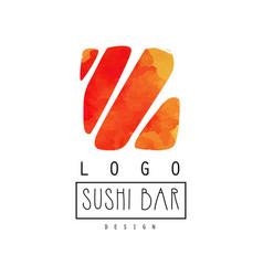 sushi bar logo design japanese food label badge vector image