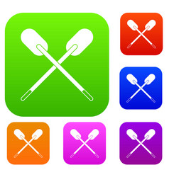 two wooden crossed oars set color collection vector image vector image